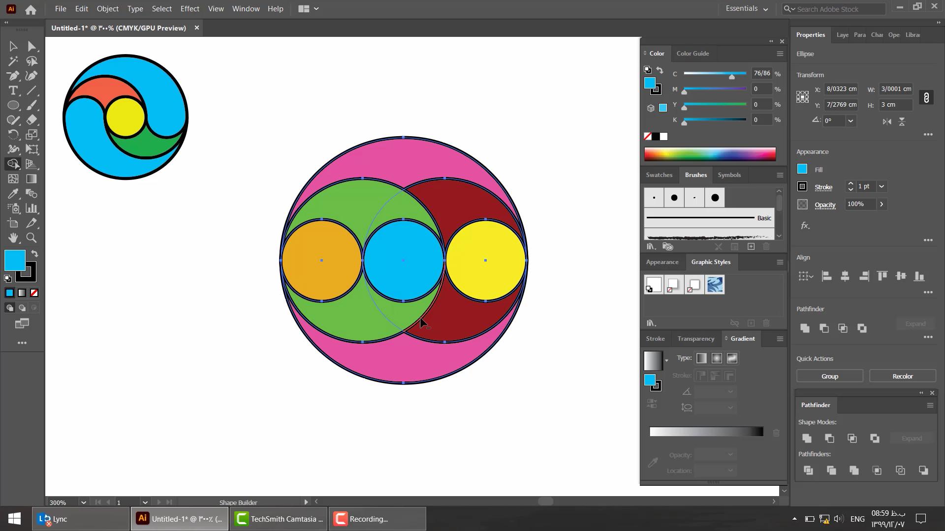آموزش طراحی لوگو در ایلاستریتور با ترکیب شکل ها